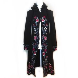 Express floral embroidered long duster
